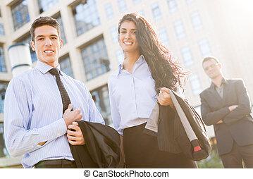 ハンサム, パートナー, 若い, ビジネス