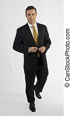 ハンサム, ビジネス男, 中に, 黒いスーツ, 歩くこと