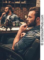 ハンサム, モデル, 離れて, 人, 理髪店, 見る, 光景, あごひげを生やしている, ever., 側, 手, 驚くばかり, あご, 間, 椅子, 保持, 若い