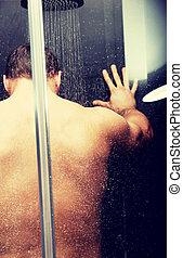 ハンサム, 人, shower.