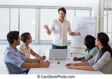 ハンサム, 協力者, プレゼンテーション, 寄付, ビジネスマン