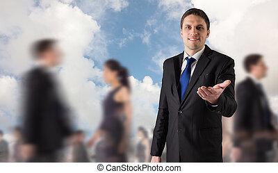 ハンサム, 合成, 外に手, 保有物, ビジネスマン, イメージ