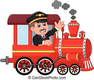 ハンサム, 機械工, 微笑, の上, 振ること, 漫画, 列車