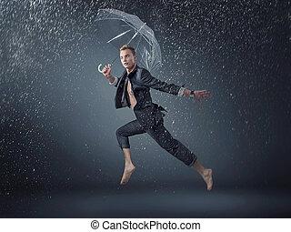 ハンサム, 男のジャンプ, そして, ダンス, 雨