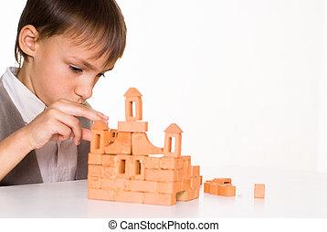 ハンサム, 男の子, 建造する, a, おもちゃ, 城