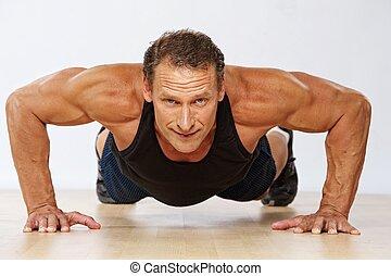 ハンサム, 筋肉, 人, すること, push-up.