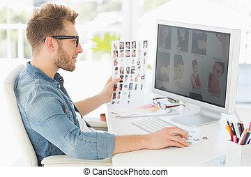 ハンサム, 編集者, で 働くこと, 彼の, コンピュータ