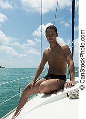 ハンサム, 若い成人の男, 航海, 上に, ヨット