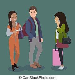 ハンサム, 観光客, luggage., trainn, joung, 隔離された, ∥あるいは∥, 人, 空港, ベクトル, アジア人, バス, アフリカ 女, 駅, 女の子, set., 人