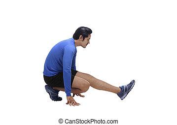 ハンサム, 運動選手, 伸張, 動くこと, アジア 人, 足, 前に
