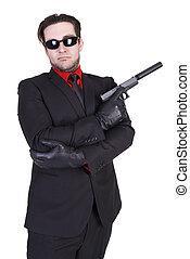 ハンサム, 銃, 保有物, 人