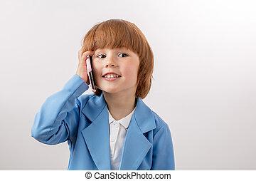 ハンサム, 電話, ショウガ, 男の子, 話し