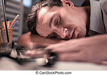 ハンサム, 顔, 睡眠, 人, 疲れた