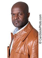 ハンサム, 黒い 人, ∥で∥, 革のジャケット, 隔離された, 白, 背景