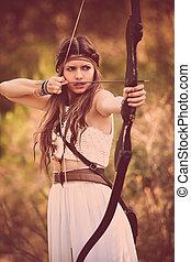 ハンター, 女, 森林地帯, 矢, 弓