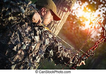 ハンター, 森林, 探求, 弓