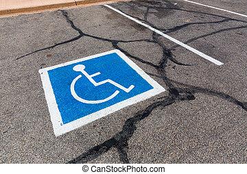 ハンディキャップを付けられる, シンボル, spot., 駐車