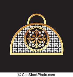 ハンドバッグ, スタイル, 女性, bling
