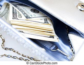 ハンドバッグ, ドル, 贅沢, ビルズ