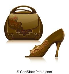 ハンドバッグ, ベクトル, 靴