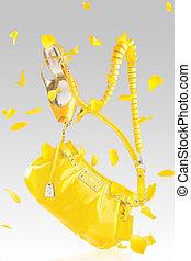 ハンドバッグ, ポンプ, 黄色