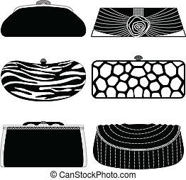 ハンドバッグ, 袋, 女, 財布, 女性