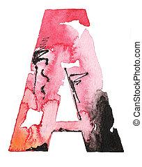 ハンドメイド, アルファベット, 水彩画, デザイン