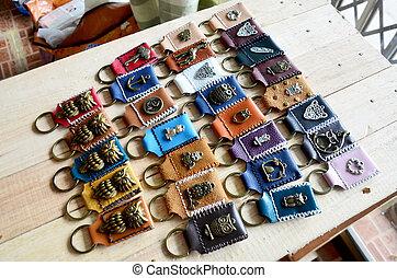 ハンドメイド, キーホルダー, そして, 小さい, 袋, 作られた, から, 革
