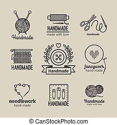 ハンドメイド, ロゴ, 型, 線, セット