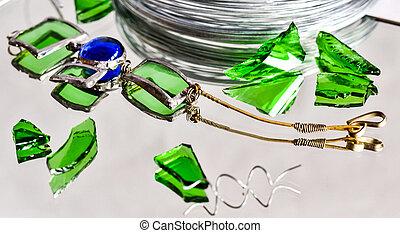 ハンドメイド, 宝石, 作られた, の, 鉄, 鏡, そして, ガラス