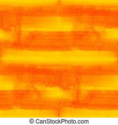 ハンドメイド, seamless, 黄色い縞, 水彩画, 背景, オレンジ