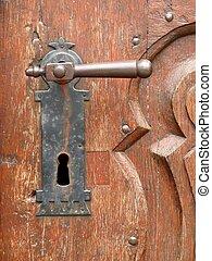 ハンドル, 古い, ドア, 刻まれた