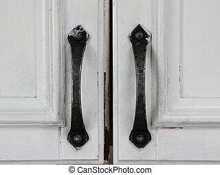 ハンドル, 型, 細工された, 黒, 古い, 鉄, 戸棚