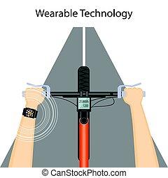 ハンドル, 痛みなさい, 技術, 腕時計, wearable, 自転車