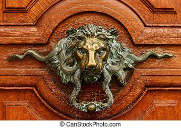 ハンドル, 金, 古い, ドア