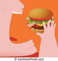 ハンバーガー, の上, 脂肪, 終わり, 食べること, 人