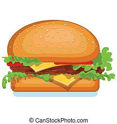 ハンバーガー, アイコン, 隔離された, 上に, white., v