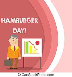 ハンバーガー, 写真, 抵抗できない, 地位, 報告書, 執筆, day., サンドイッチ, テキスト, 概念, 祝う, ビジネス, 提示, 手, ほとんど, 場合, バー, これ, whiteboard, chart., ビジネスマン, 歴史
