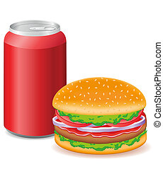 ハンバーガー, 缶, アルミニウム, ソーダ