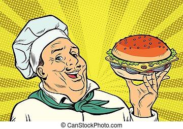 ハンバーガー, gesture., シェフ, コック, プレゼンテーション, 人