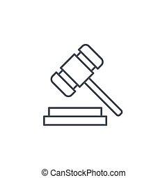 ハンマー, オークション, シンボル, シンボル, 正義, ベクトル, 評決, 薄いライン, 法律, icon., 線である