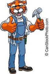 ハンマー, 大工, 保有物, マスコット, handyman, tiger