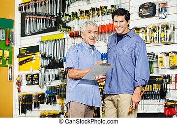 ハードウェア, クリップボード, 父, 店, 息子