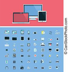 ハードウェア, コンピュータ, セット, アイコン