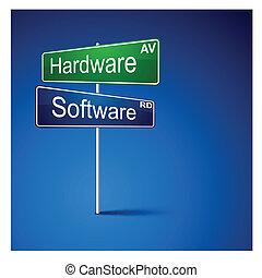 ハードウェア, ソフトウェア, 方向, 道, 印。