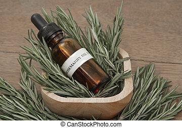 ハーブ, 点滴器, オイル, びん, aromatherapy, 待遇, 必要, エステ, ローズマリー