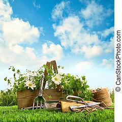 ハーブ, 草, 道具, 庭, 新たに
