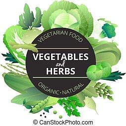 ハーブ, 野菜, 緑, ラウンド, フレーム