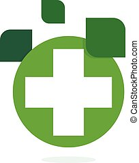 ハーブ, eco, logotype, 隔離された, 薬局, バックグラウンド。, ベクトル, 緑, 治癒, テンプレート, 交差点, 白, ロゴ