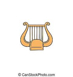 ハープ, のように, ギリシャ, 古代, リラ, -, アイコン, 弦楽器, 黄色, 音楽